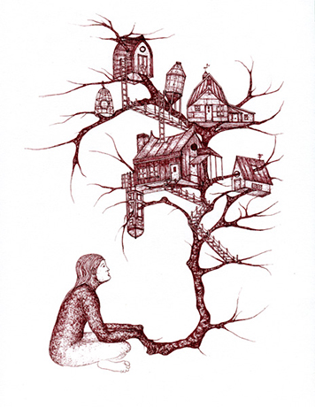 Gowri Savoor,  Treehouse Series #9 , ink pen on paper, 11x8.5 inches, 2010