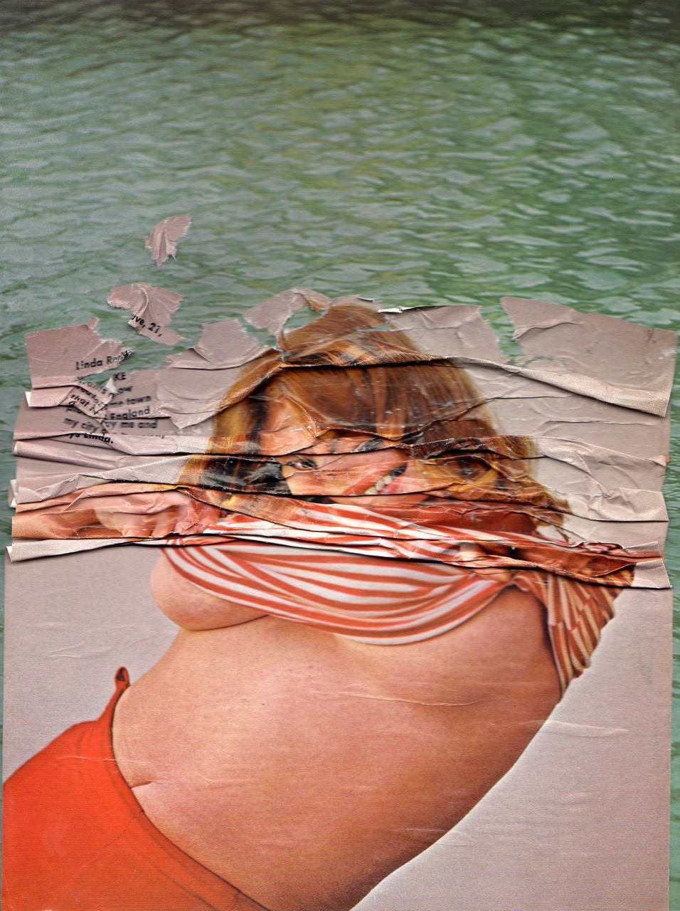 "Monica Zeringue,  Ripple , collaged found image, 14.5x11.75"", 2016"
