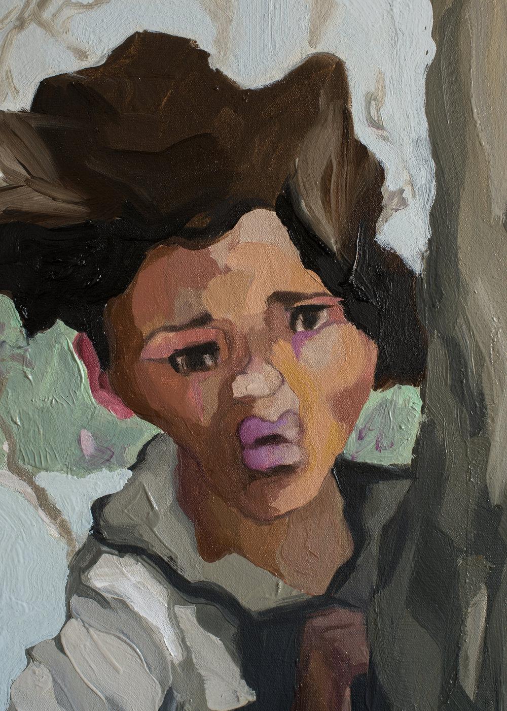 """Ruth Owens,  Tag-a-Long , detail, 60 x 40"""", 2019"""