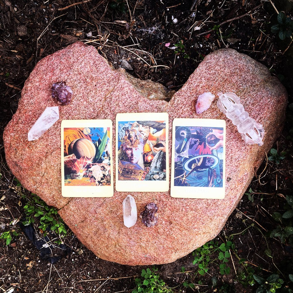 Aloha Friday 6 April 2018 3-card, tarot spread (above) with accompanying interpretation (below) and guided meditation mp3 (further below); click image to be directed to  @candicosmic  via Instagram