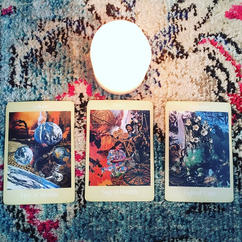Aloha Friday 27 April 2018 3-card, tarot spread (above) with accompanying interpretation (below) and guided meditation mp3 (further below); click image to be directed to  @candicosmic  via Instagram