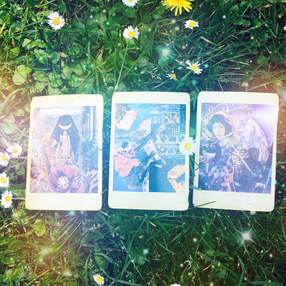 Aloha Friday 4 May 2018 3-card, tarot spread (above) with accompanying interpretation (below); click image to be directed to  @candicosmic  via Instagram