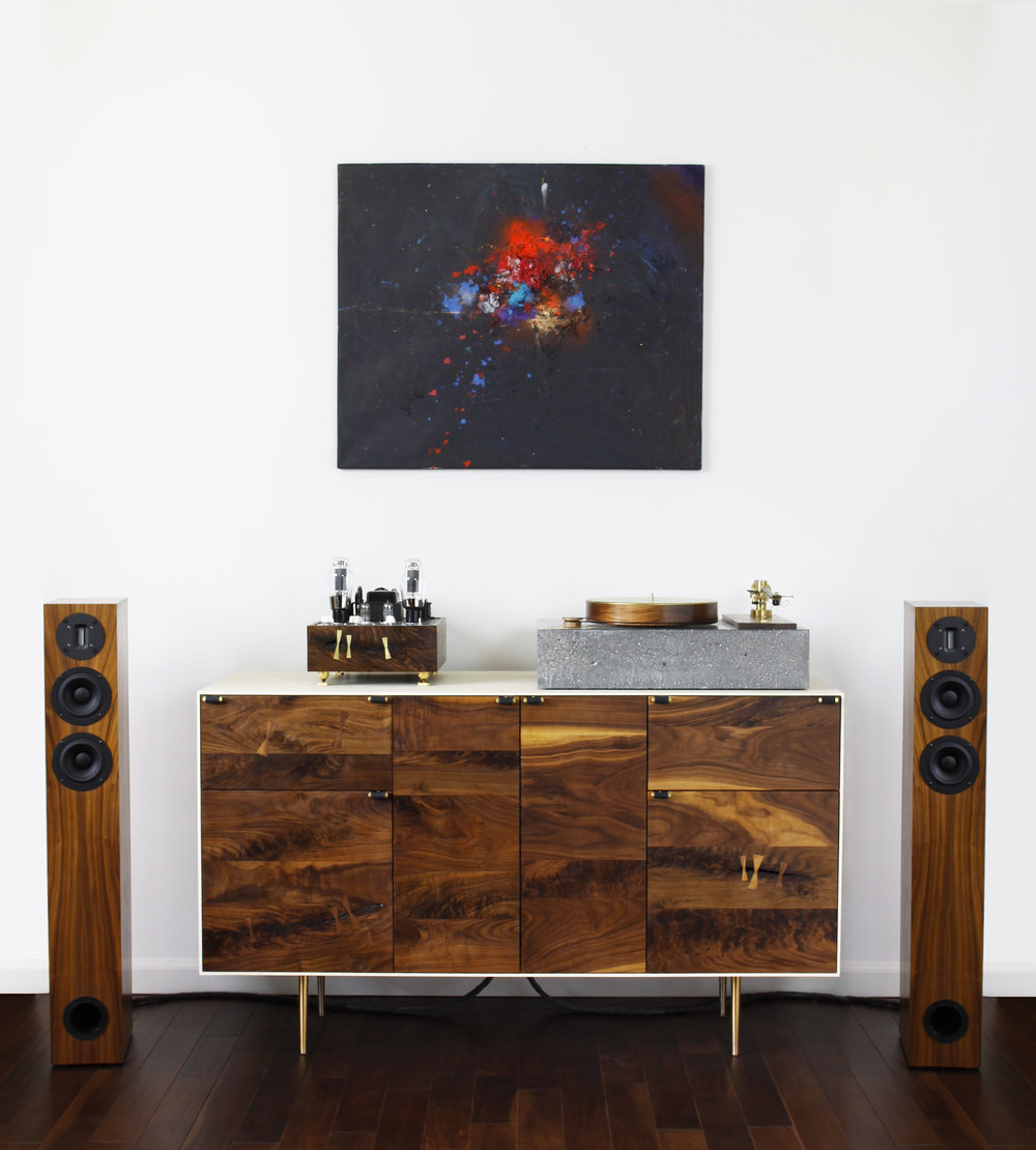 audio cabinet walnut