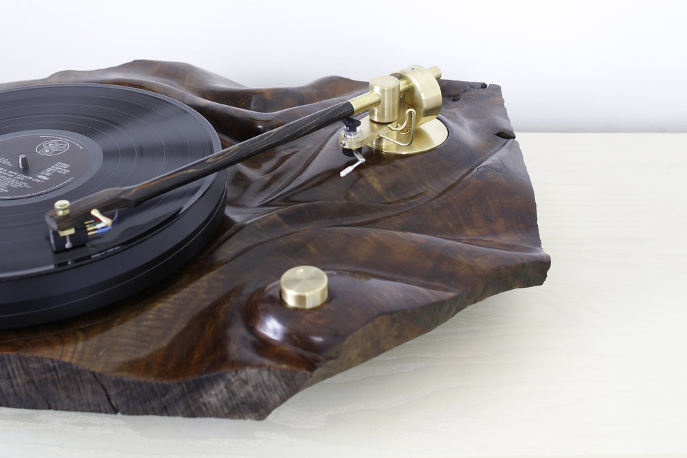 walnut turntable with brass