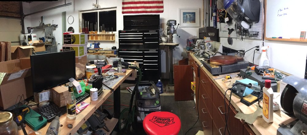 Finally, a totally unscripted shot of my garage/workshop in the middle of the project.