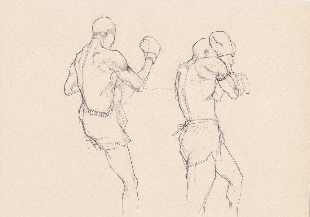 Muay Thai Ballpoint Sketch