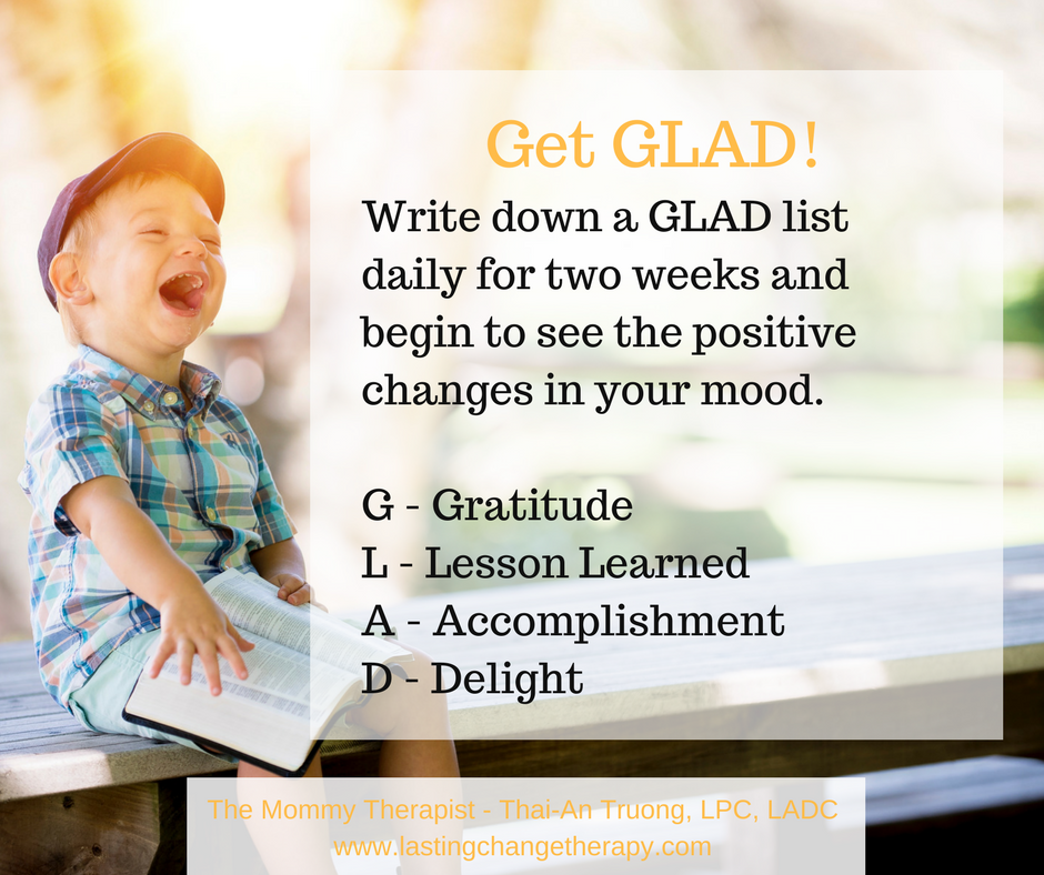 Glad list for Pregnant & Postpartum Therapy Group