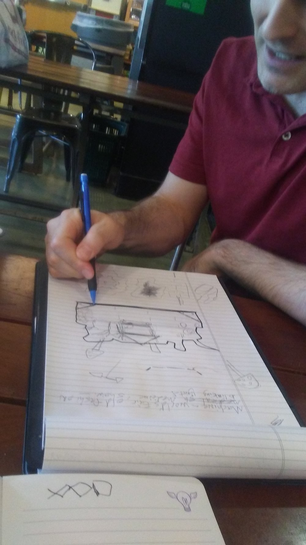 Jacob's very earliest drawing of the machine!