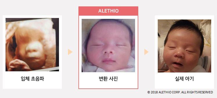 알레시오의 솔루션을 이용해 변환한 아기 사진과 실제 아기