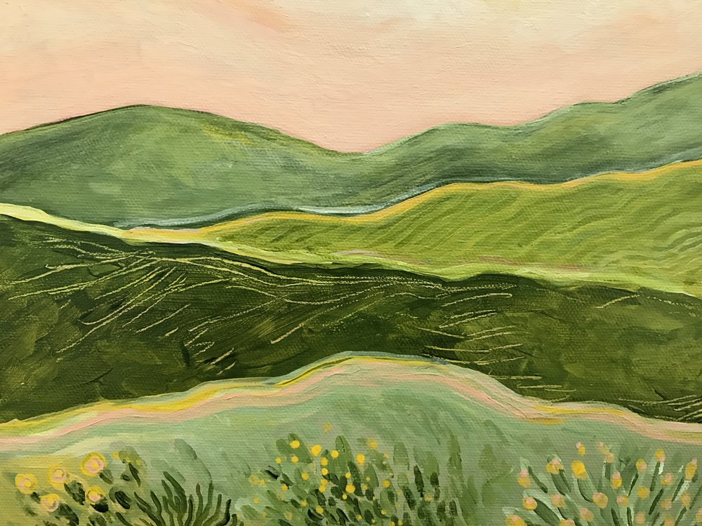 "MARIN HILLS   10x10""   Acrylic on Canvas     Available: $150"