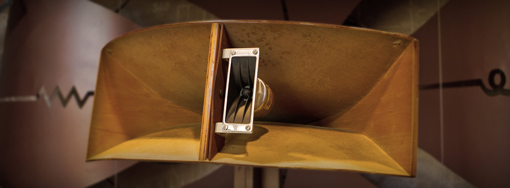 A Klipsch horn-loaded speaker.