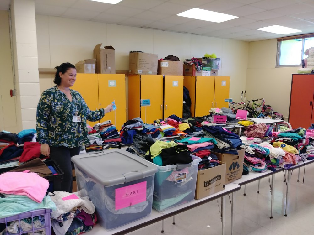 Mary Brown, community school project director at Gulfside Elementary in Holiday, helps coordinate resources at a community hub.