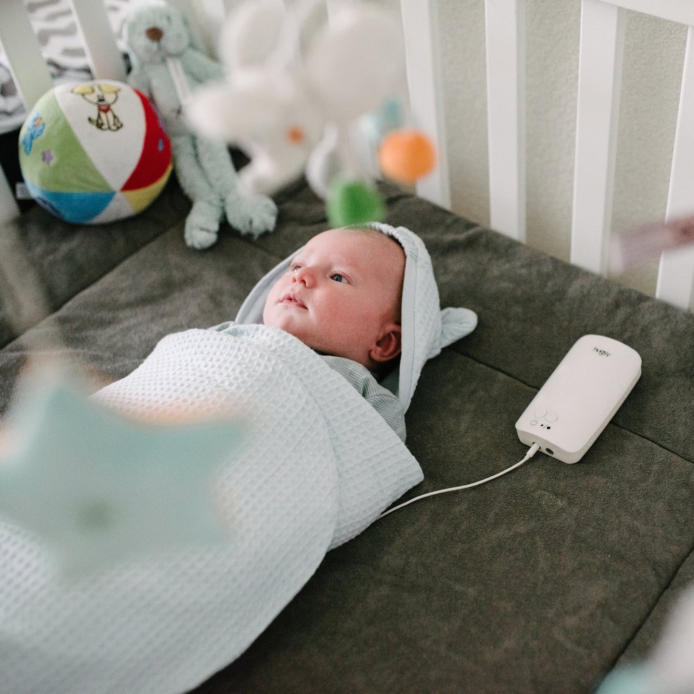 Hugsy continues to provide comfort and care in the crib with a parent's heartbeat, smell and warmth