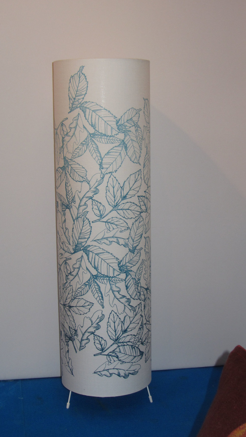 Large lamp  Undyed Irish linen  Screen print - Leaves