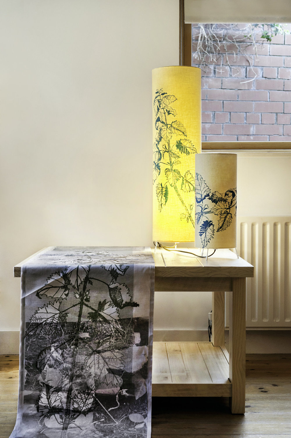 Complimentary home-wares  Wall hanging, Digital print  Screen printed lampshades  Theme: nettles