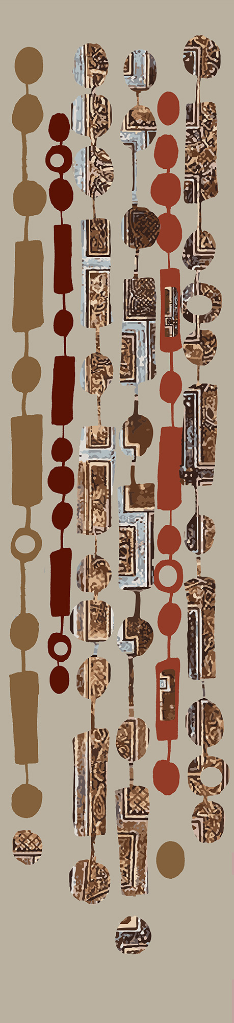 Digital print on Irish linen The Book of Kells is the inspiration for this piece. Ornate borders and Celtic patterns are abstracted to create this horizontal design. 205 cm X 46 cm