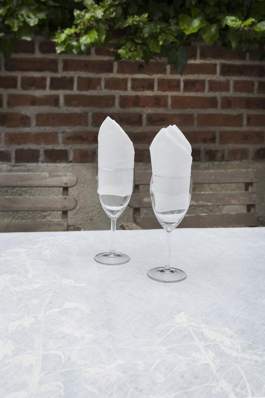 Table Runner & Napkins. Screen print. White on white undyed Irish linen. Nettles