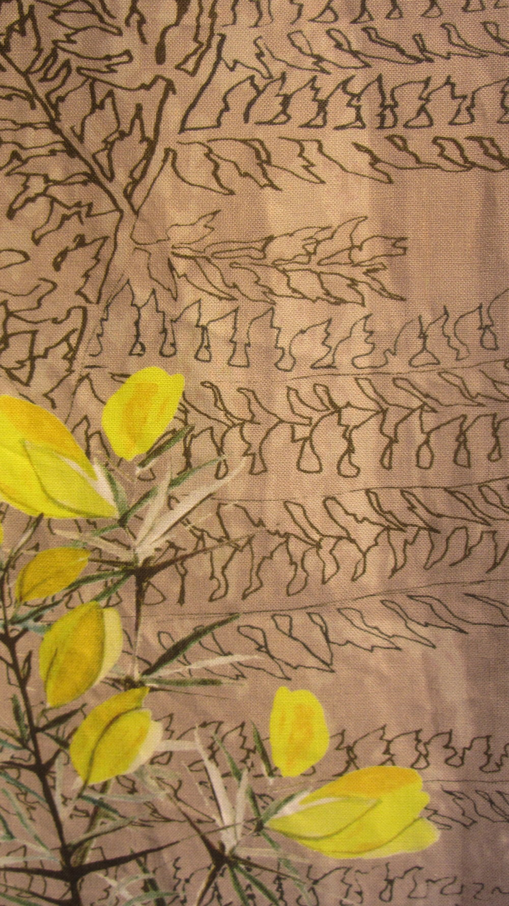 Gorse and fern. Digital print on Irish linen. Detail
