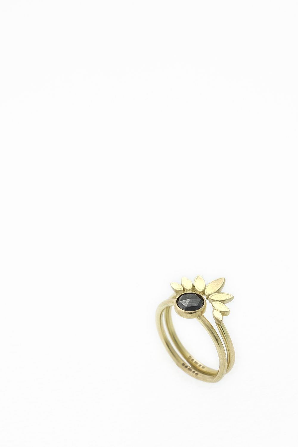 Large Sunflower Ring with Black Diamond