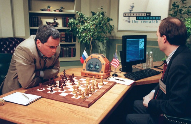 World chess champion Garry Kasparov playing IBM's Deep Blue computer in 1997 © AFP