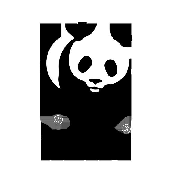 - El identificador de la World Wide Fund es muy sencillo aunque incluya una imagen: fíjate que solo está compuesta de áreas de color negro que forman a su vez las áreas blancas.