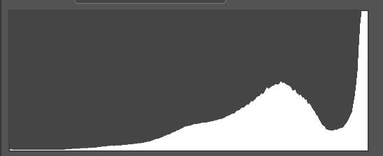 Así luce un histograma de una imagen que tiene las luces reventadas: fíjate que el área blanca se corta en el lado derecho, que es el extremo de las altas luces.