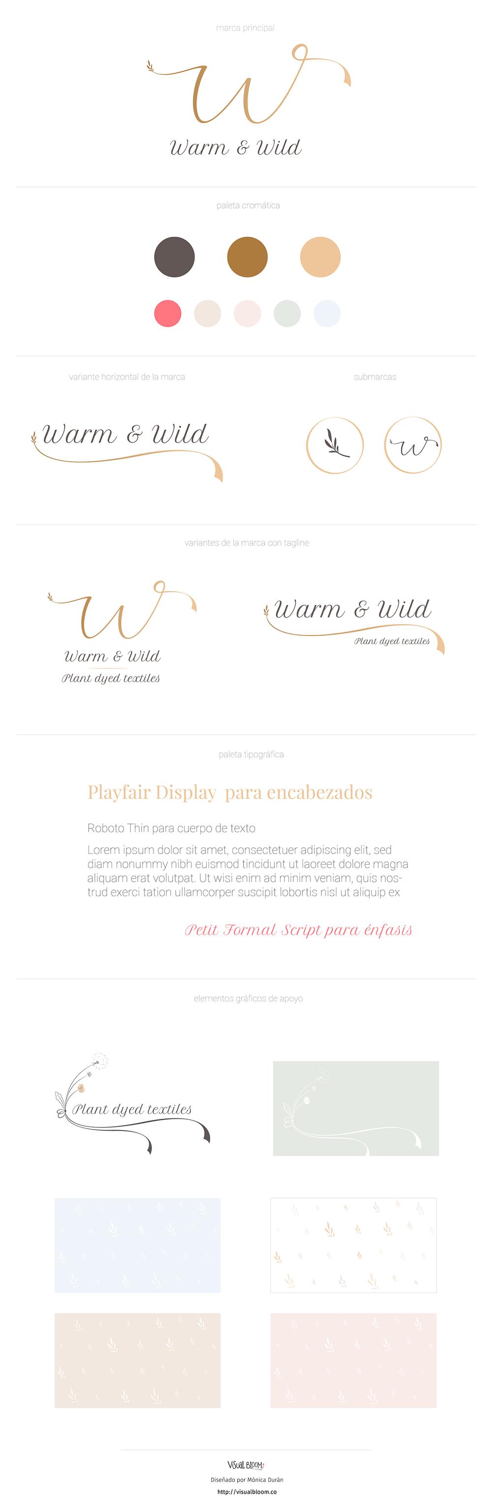 Brand Board para el rebranding de Warm & Wild, una marca slow, de tejidos teñidos a mano de manera artesanal. Delicada, artesana y natural.
