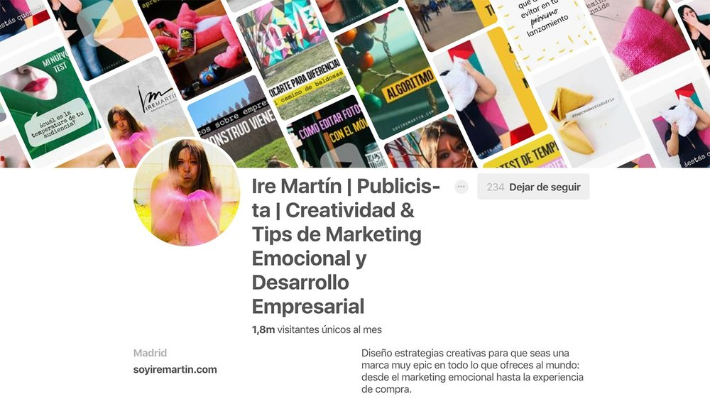 Perfil de Pinterest de  Ire Marín