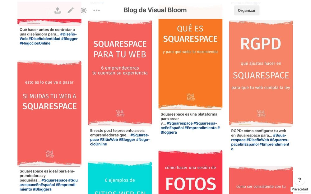 Pines con diseño alternativo del tablero de  Visual Bloom .
