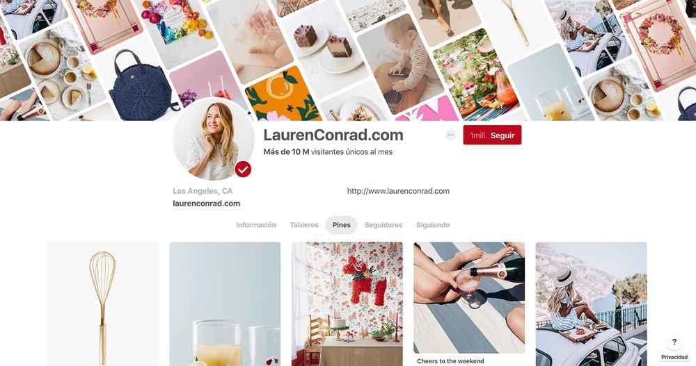 Perfil de Pinterest de  Lauren Conrad