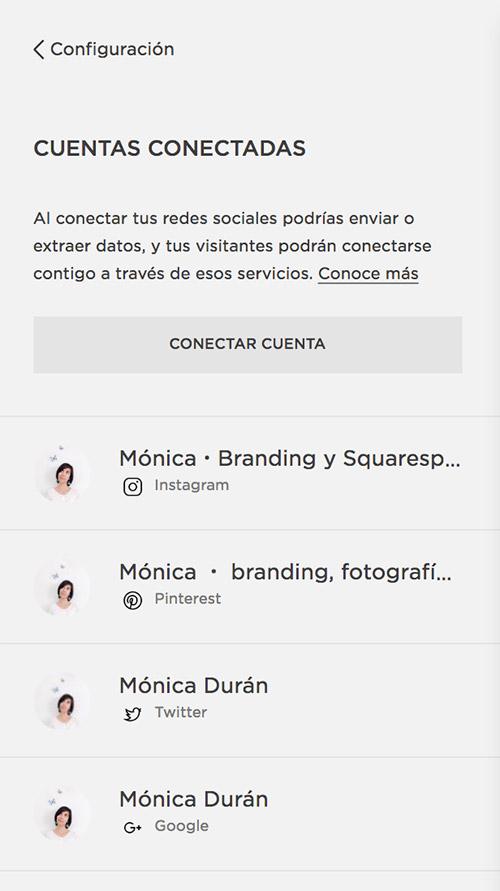 Cómo vincular tus redes sociales a Squarespace para poder mostrar contenido en la web.