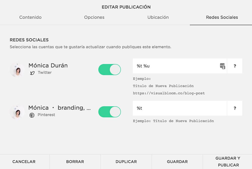 En Squarespace, ahorra tiempo compartiendo tus contenidos nuevos en tus redes sociales, de manera automática.