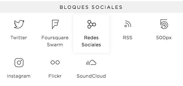 Con el Bloque de Redes Sociales en Squarespace, puedes añadir tus iconos de redes en cualquier parte de tu web.
