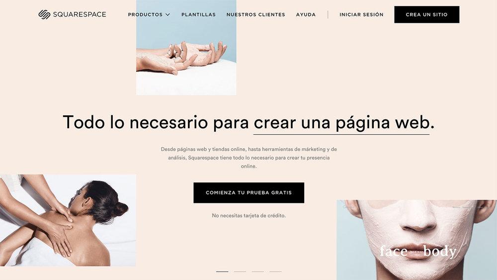 Página de  inicio  en la web de Squarespace en español.
