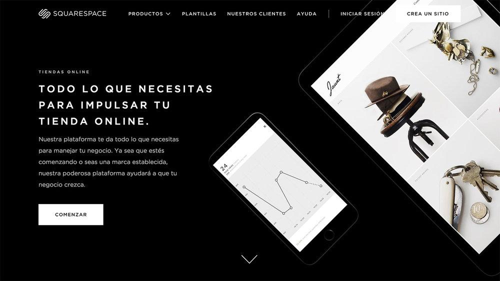 Página dedicada a las  e-commerce  en la web de Squarrespace en español.