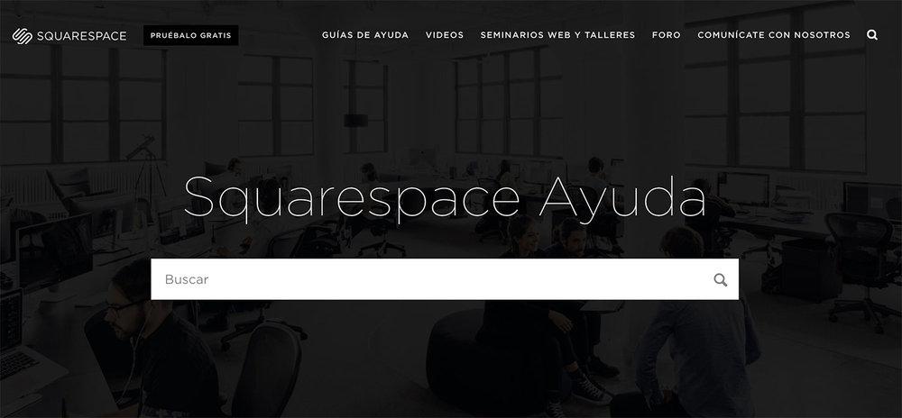 Página de  ayuda  en la web de Squarespace, con muchas de las guías ya traducidas al español.