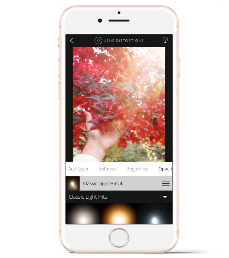 Lens Distortions es para añadir destellos de luz y otras texturas a las fotos.