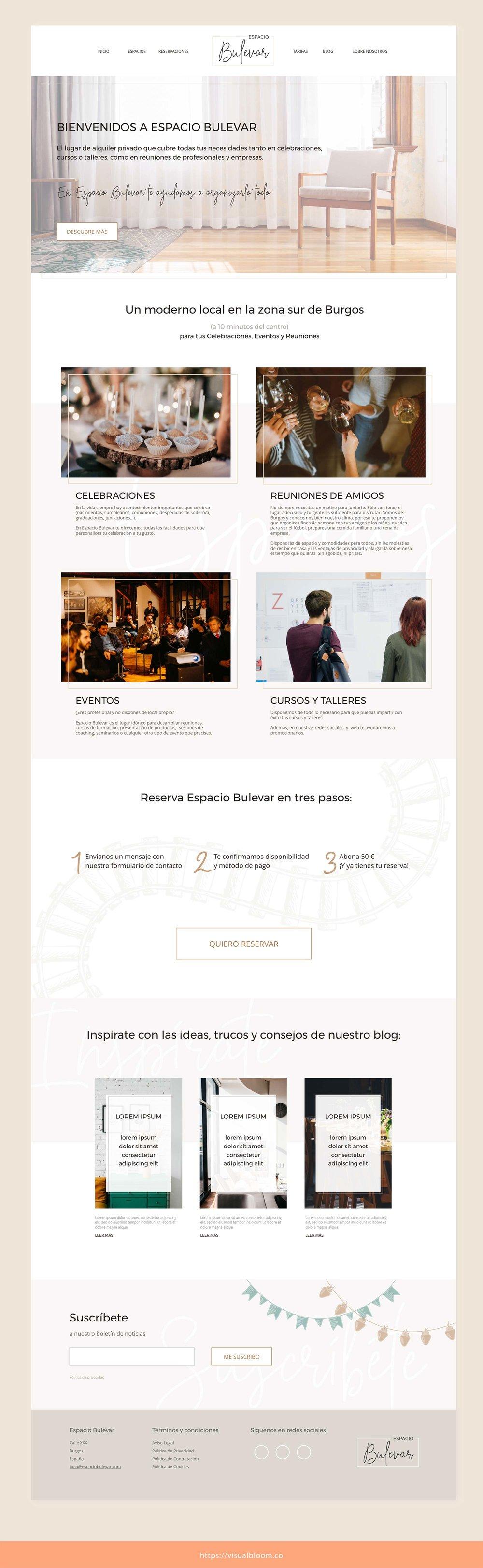 Diseño web en Squarespace para Espacio Bulevar, en Burgos, España.