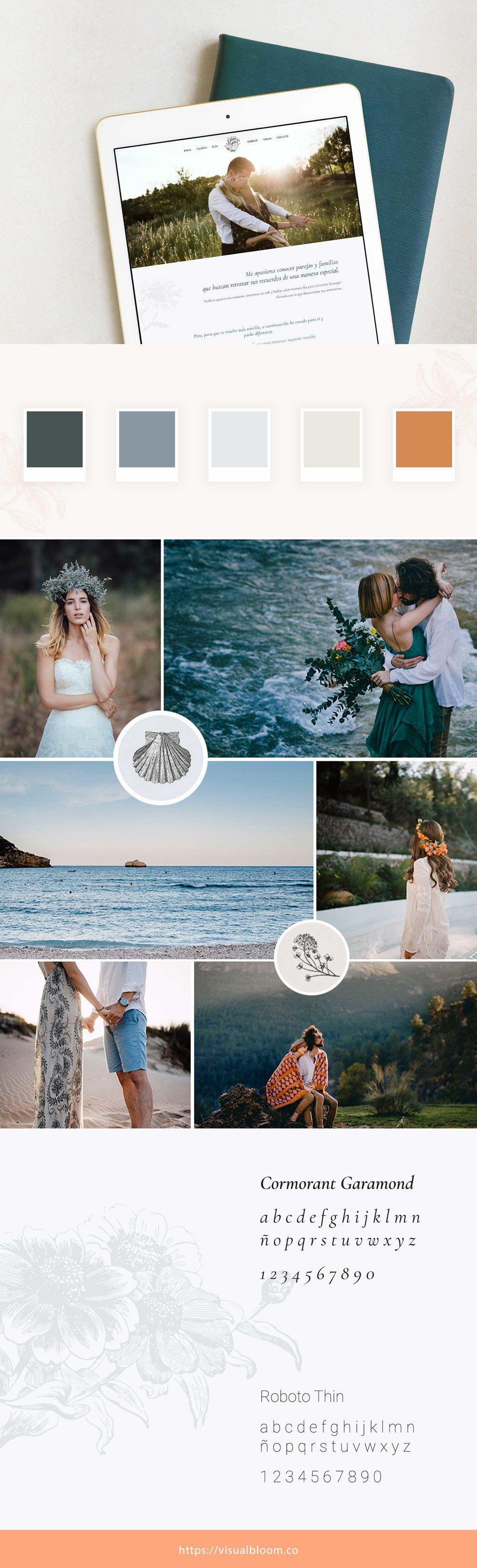 Elementos gráficos del diseño de identidad visual para Dani Arjones, fotógrafo de bodas.