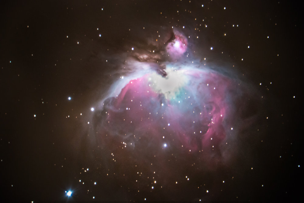 The Orion Nebula, imaged from the Nevada desert using a Celestron 8SE with focal length reducer and AX mount with Canon 70D