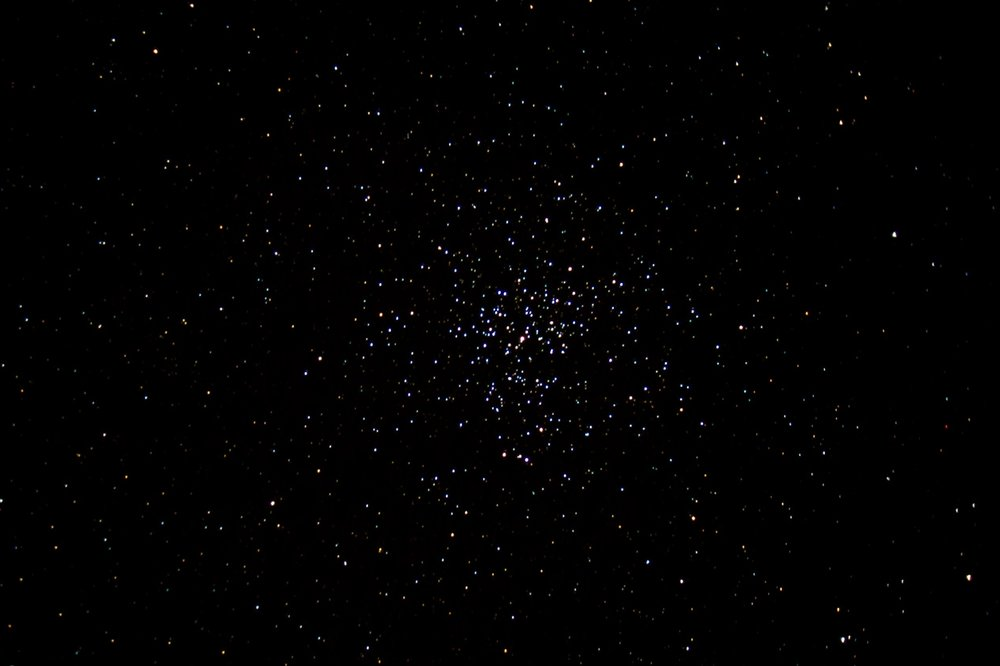 M37 is an    open cluster    4,500 light years away in the constellation    Auriga   . You're looking at a single 30 second exposure taken out in the countryside between Santa Barbara and Santa Ynez.    Telescope    used was a    Celestron    8SE with focal length reducer.