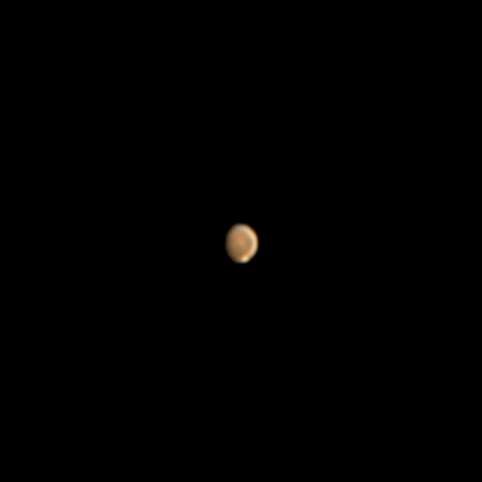 "Mars   , the    Red Planet   , as imaged through my 8""    Celestron    telescope from Malibu in October 2018. The bright white dot at the bottom is the    Martian    southern polar ice cap, which contains a layer of    dry ice    (frozen CO2) caked over water    ice   . In fact, the southern polar cap contains roughly 50 percent the amount of water frozen in Greenland's ice sheet. Will humans living on Mars melt and drink this water one day?"