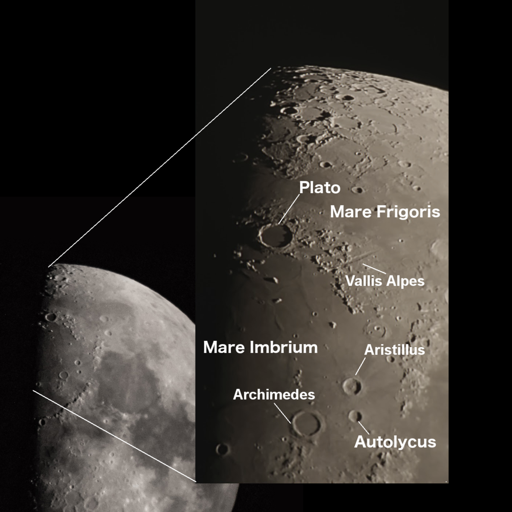 Annotated features on my moon images.