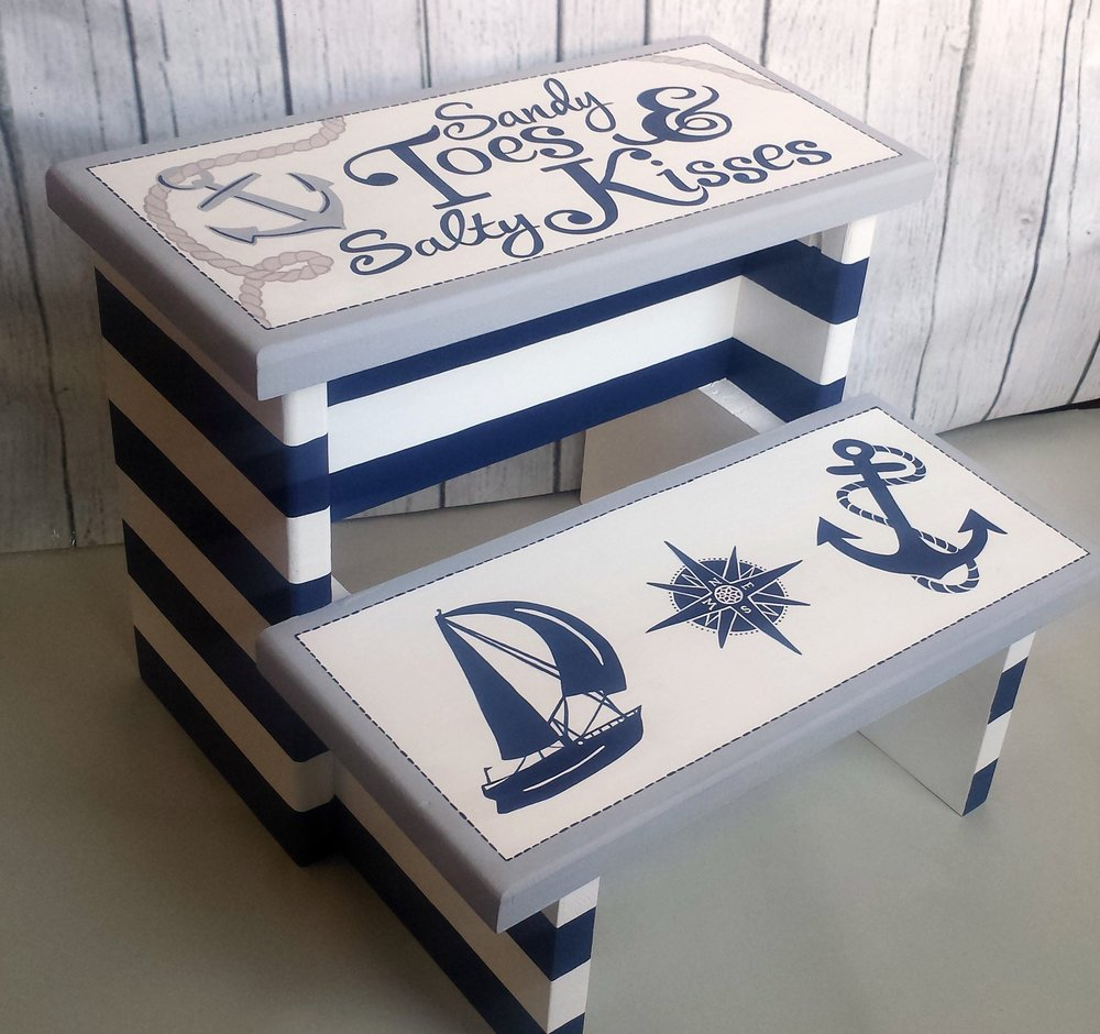 Nautical stripe double step stool in navy white and grey : double step stool - islam-shia.org