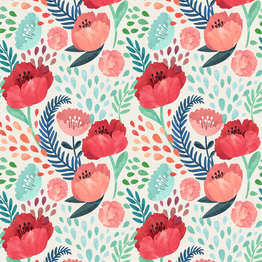 coral, red, navy and turquoise wallpaper