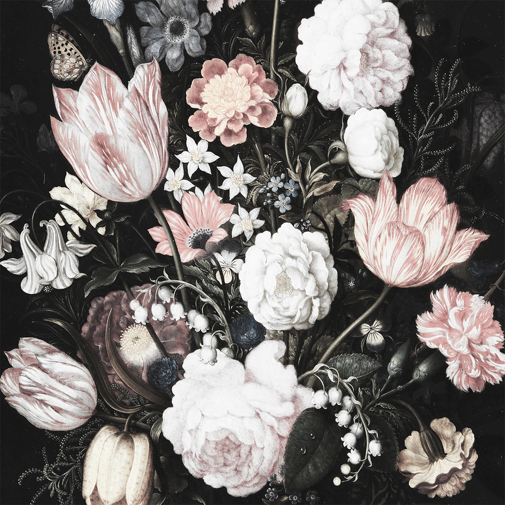 Black and pink floral wallpaper mural