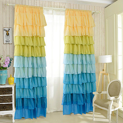 yellow turquoise ombre ruffle curtain