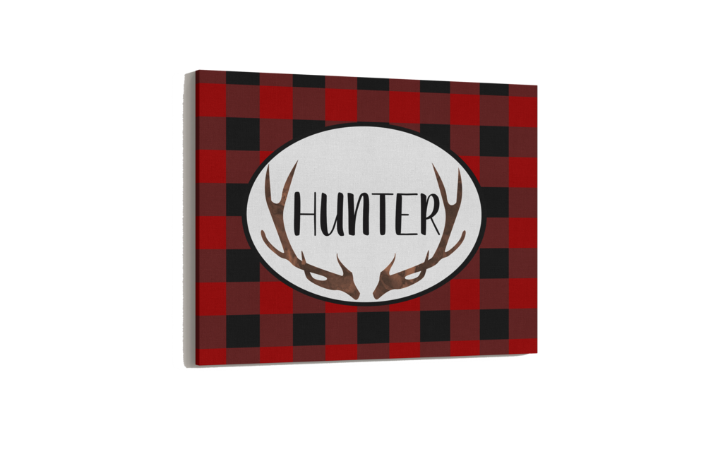 Buffalo plaid personalized canvas