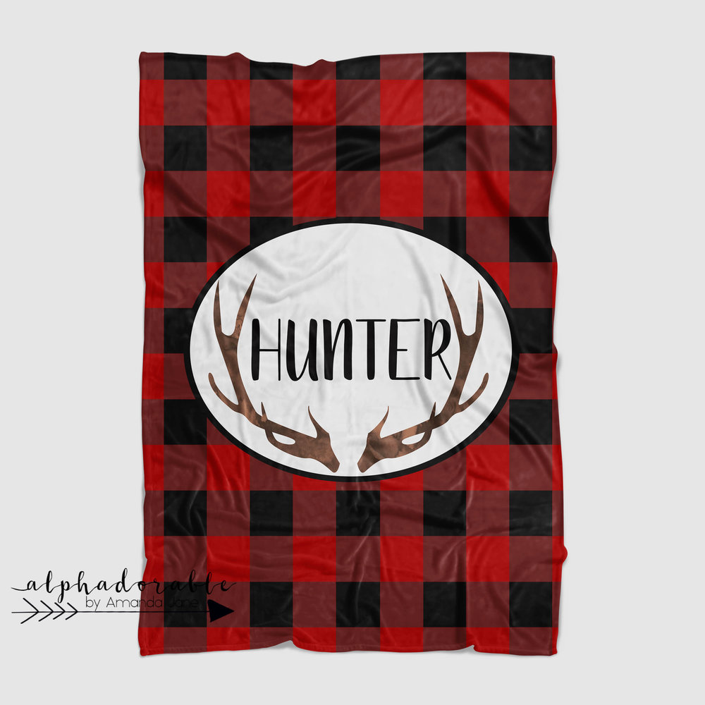 personalized buffalo plaid minky blanket