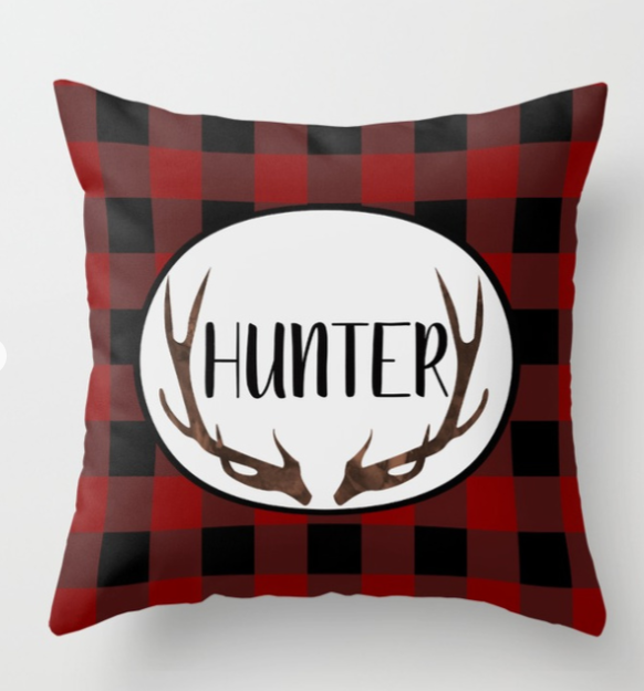 buffalo plaid personalized cushion